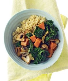 Quinoa With Mushrooms, Kale, and Sweet Potatoes|This vegetarian dinner is simple, tasty, healthy, and hearty enough to satisfy the meat lovers in your family. Try more recipes with kalea great green winter vegetable: kris1i