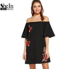 SheIn Black Embroidered Flower Applique Bell Sleeve Off The Shoulder Shift Dress Half Sleeve Summer Women Dresses
