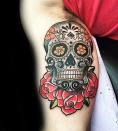 Mens Bicep Sugar Skull Old School Design With Red Rose Flowers