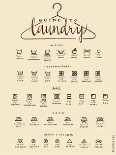 Laundry Care Guide, Laundry Symbols Chart, Calligraphy Art, Housewarming Gift, Vintage Style, Illustration Art Print, Decor, Laundry Room