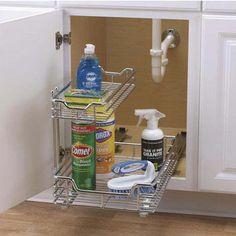 "Cabinet Organizers, 12"" Under Sink Sliding Organizer-KDChrome Single Pack by Household Essentials | KitchenSource.com"