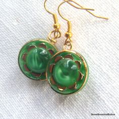 Dangling Button Earrings, Green and Gold Vintage Glass Button Earrings, molded glass German buttons, gold accent, Schwanda buttons, Sold but I have a few more of these great buttons. . . .