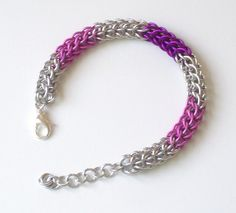 Pink and Fuchsia  Full Persian Chain Mail Bracelet Chainmaille Jewelry