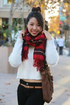 tartan, scarf, plaid, white, soft, sweater, crop, southern, asian, japanese, hairstyle, high bun, ootd, palo alto, downtown, belt, skinny jeans, fashion blogger, ally gong, cute, casual, personalized, bar necklace, smile, fall, simple, university avenue