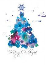 Christmas Tree Card, Watercolour