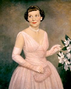 Mamie Eisenhower in her inauguration ball gown designed by NETTIE ROSENSTEIN. Painted in 1953 by Thomas Stevens