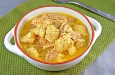 Slow Cooker Chicken and Dumplings-Hallalujah!!  Finally, an easy to do chicken and dumpling recipe!!  I may not use biscuits but the frozen dumpling strips instead.  I'll also add a couple of cans of chicken stock to the water too to kick up the chicken flavor.
