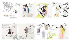 this is Japanese fashion magazine layout. this style is quite playful and modern for the young people. the book with full of hand drawing even the model with many different interesting pose and the text format which it is just match with the pose they shape different and placement in different area give to bit fun.