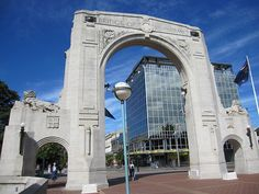 Christchurch Bridge of Remembrance with DTZ Building in the background.