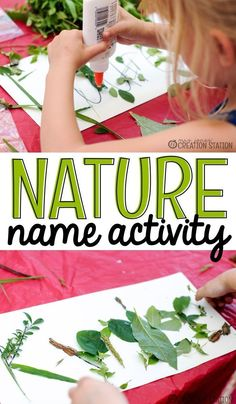 Nature Name Activity There is always something new to be discovered when you are exploring the outdoors. The majority of the time we spend outside together is unstructured playtime. This is a great activity to add into your outdoor time to teach you littl Name Activities, Outdoor Activities For Kids, Outdoor Learning, Kindergarten Activities, Summer Activities, Educational Activities, Preschool Camping Activities, Kids Outdoor Crafts, Art Activities For Preschoolers