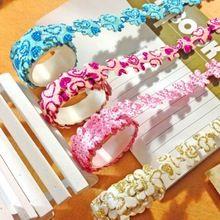 Casa Flor Glitter Tecido Pegajoso Masking Fita Adesiva Etiqueta Decorativa DIY Artesanato Hot(China (Mainland))