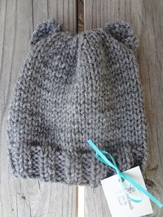 Baby bear hat in a fabulous fallish gray! (Free Pattern!)