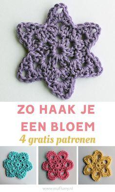 Haken voor beginners: zo haak je een makkelijke bloem. 4 gratis en duidelijke Nederlandstalige haakpatronen. #haken #bloemen Knit Crochet, Crochet Hats, Holly Hobbie, Funny Tattoos, Wedding Tattoos, Travel Design, Wedding Art, Hanging Ornaments, Business Card Size