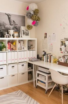 Nice organized Expedit in a home office. http://gallery.apartmenttherapy.com/photo/michael-hillarys-refined-roost/item/404442