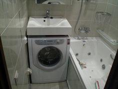 Раковина над стиральной машиной прямоугольной формы