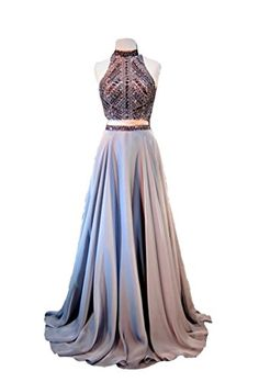 It's never too early to start prom dress shopping! Go for a Kylie Jenner look with this TDHQ Halter Crystal Sequined Beaded Open Back Two Piece Long Prom Dress.