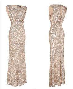 Champagne Beaded Bridesmaid Dress Floor Length