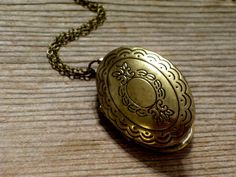 Ornate Brass Locket, Victorian Revival Style Antiqued Brass Plated Oval Locket Pendant Necklace, Photo Locket Necklace, Mourning Locket