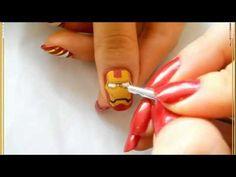 Marvel series: Iron Man nails Christmas Nail Art Designs, Christmas Nails, Iron Man Nails, Nail Polish Designs, Nail Designs, Superhero Nails, Marvel Series, Pretty Designs, Easy Nail Art