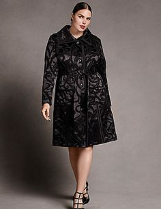 Luxe scroll patterned satin jacquard trench with textured seaming details and self-tie belt. Front pockets. Fully lined. Button front closure.  lanebryant.com