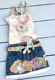 Ends 5/22/16-Sill 1 hr to bid :) Frilli Lilli denim jean applique skirt halter top set lot pageant casual wear 3T #FrilliLilli