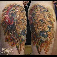 Rasta lion tattoo by Katarina Mikky