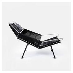 Hans J. Wegner - Flag Halyard Chair for PP Mobler [steel, black flag halyard, leather, sheepskin]