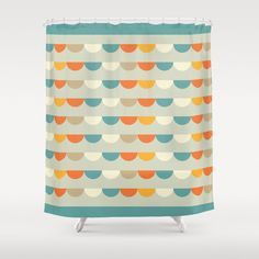 Funfair Retro Shower Curtain Geometric Pattern Bathroom Curtains Decor