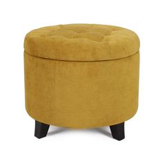 Adeco Round Cushion Button Tufted Lift Top Storage Ottoman Footstool - Microfiber Flannelette Fabric - Height 17 Inches - Dark Goldenrod