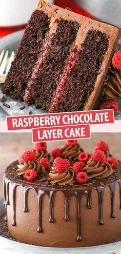 Chocolate Raspberry Cake, Chocolate Cake Recipe Easy, Chocolate Recipes, Chocolate Frosting, Cake Chocolate, Chocolate Birthday Cakes, Raspberry Cake Filling, Chocolate Pancakes, Chocolate Filling