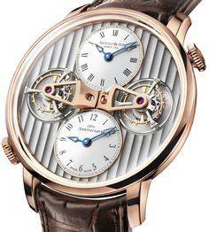 "Arnold & Son DTE ""Double Tourbillon Escapement"" Watch - learn more on aBlogtoWatch.com ""What do you get when you combine the Arnold & Son DBG and UTTE watches? The Arnold & Son DTE of course! Oddly that even seems to make mathematical sense. For 2014 Swiss watch maker Arnold & Son will release this new limited edition double time, double tourbillon timepiece which is officially know as the 'Double Tourbillon Escapement' watch..."""