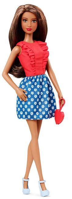 Barbie Fashionistas Doll #5 Red Blue Floral Dress New 2015 Dolls