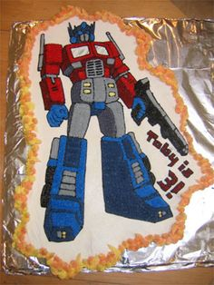 optimus prime cake ideas | Topic: Optimus Prime cupcake cake and Megatron Pinata (Read 9598 times ...