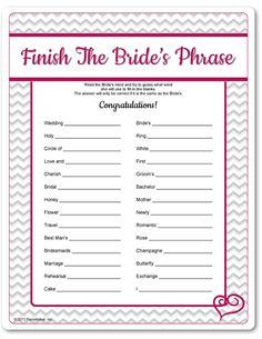 Printable Finish The Bride's Phrase - Funsational.com