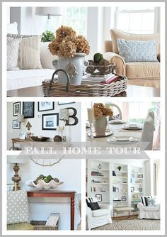 Pretty fall home tour--neutrals and rustic touches. Sources included.