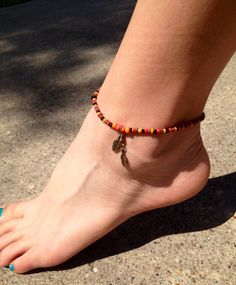 Brass Feather and seed bead ankle bracelet. by FireSpiritandSoul, $7.75