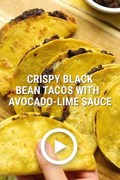 Crispy Black Bean Tacos with Avocado-Lime Sauce by Food Love. This easy recipe of crunchy tacos filled with perfectly spiced black beans and melty cheese is seriously addictive Tasty Vegetarian Recipes, Vegan Dinner Recipes, Mexican Food Recipes, Beef Recipes, Cooking Recipes, Healthy Recipes, Easy Recipes, Simple Vegetarian Recipes, Vegetarian Meals For Kids