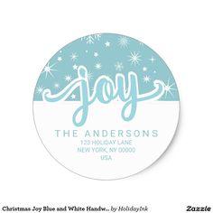 Christmas Joy Blue and White Handwritten Address