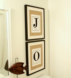 How to make the monogram pictures. I just love it! I think Ill do a W for Walker in the bathroom!