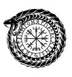 Jormungandr and Vegvisir Norse Mythology Tattoo, Norse Tattoo, Celtic Tattoos, Viking Tattoos, Viking Symbols, Viking Art, Viking Runes, Body Art Tattoos, Tribal Tattoos