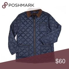"""Thaddeus Quilted Navy Down Barn Jacket Lightweight navy quilted jacket with chocolate suede collar, suede piping on top pockets,chest pocket and front zipper closing. Shell and fill 100% polyester. (M) Chest-21"""" Body length-30"""" Sleeve length-33 1/2"""" (XL) Chest- 24"""" Body length-31 1/2"""" Sleeve length-35"""". Two way zipper closing and double rear vent with metal snaps. THADDEUS NEW YORK Jackets & Coats Military & Field"""
