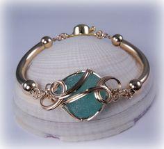 Sea Squall ~ Gorgeous Gold & Sea Glass Bracelet ©2011