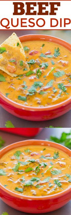 Beef Queso Dip - Caramelized onions, ground beef, taco seasoning, and CHEESE in this FAST and EASY dip everyone loves!! Great for game days, PARTIES, holidays, and events!!