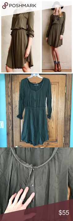 Holding Horses Ocala Shirtdress Olive green, ultra comfortable, shirtdress by Holding Horses from Anthropologie. This dress works great for the office, and the cuffs of the sleeves are a different patterned fabric. In excellent condition! Anthropologie Dresses Long Sleeve
