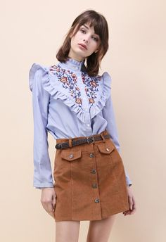 Retro Wildflower Embroidered Shirt in Blue Stripes - New Arrivals - Retro, Indie and Unique Fashion