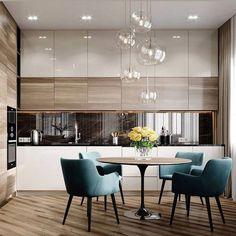 38 Elegant and Luxurious Kitchen Design Ideas - Top Five Suggestions for Designing a Luxury Kitchen Kitchen Room Design, Kitchen Cabinet Colors, Modern Kitchen Design, Dining Room Design, Home Decor Kitchen, Interior Design Kitchen, Diy Kitchen, Kitchen Ideas, Kitchen Hacks