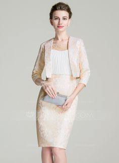 [US$ 162.99] Sheath/Column Scoop Neck Knee-Length Chiffon Lace Mother of the Bride Dress With Ruffle Beading Sequins