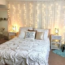Our Window Curtain Lights are a bestseller at Tapestry Girls. These curtain lights go perfectly in any room and give just the right amount of illumination, ambience and glow to your space! Room Ideas Bedroom, Small Room Bedroom, Home Decor Bedroom, Bedroom Wall, Girls Bedroom, Master Bedroom, Curtains Behind Bed, Neon Room, Bed Lights