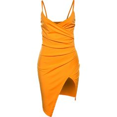 Asymmetric Hem Spaghetti Strap Ruched Plain Mini Bodycon Dress ($27) ❤ liked on Polyvore featuring dresses, long-sleeve mini dress, orange cocktail dress, bodycon summer dress, asymmetrical hem dress and orange bodycon dress