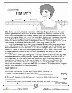 Black History Month Fourth Grade Music Comprehension Worksheets: Jazz Greats: Etta James